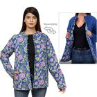 Handmade Printed Reversible Quilted Full-Sleeves Short Jacket in Navy - (Size XL, 16-20 )