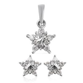 2 Piece Set - Natural Cambodian Zircon (Rnd) Snowflake Pendant and  Earrings (with Push Back) in Pla