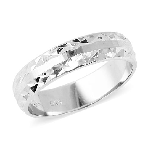 Diamond Cut Band Ring in Rhodium Plated Sterling Silver