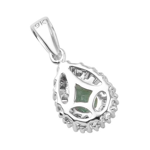 9K White Gold AA Boyaca Colombian Emerald and Natural Diamond Pendant 0.50 Ct.