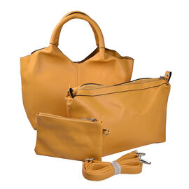 Kris Ana 3 Piece Set - Slouchy Tote Bag with Clutch Bag and Coin Pouch - Mustard