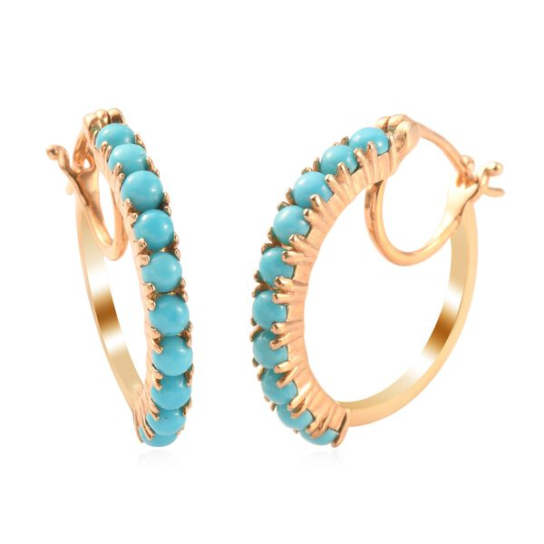 1.50 Ct Arizona Sleeping Beauty Turquoise Hoop Earrings in Gold Plated Silver