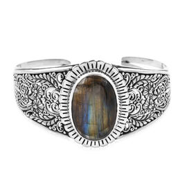 Royal Bali 34.98 Ct AA Labradorite Cuff Bangle in Sterling Silver 31.65 Grams 7.5 Inch
