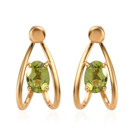 Hebei Peridot (Ovl) Earrings (with Push Back) in 14K Gold Overlay Sterling Silver 1.50 Ct.