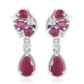 African Ruby  (Pear), African Ruby and Natural White Cambodian Zircon Earrings in Platinum Overlay Sterling Silver 4.250  Ct