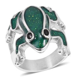 Stainless Steel Frog Ring with Enameled