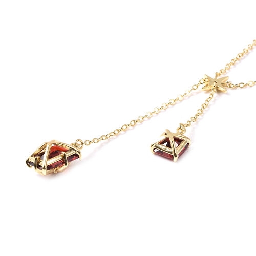 Set of 2 - Simulated Red Sapphire Necklace (Size 20 with 3 inch Extender) & Earrings (with Push Back) in Silver Tone