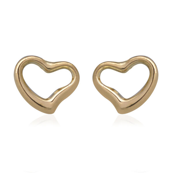 9K Yellow Gold Heart Stud Earrings (with Push Back)