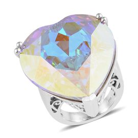 J Francis Crystal from Swarovski -  AB Crystal (28mm Heart) Ring (Size P) in Platinum Overlay Sterling Silver