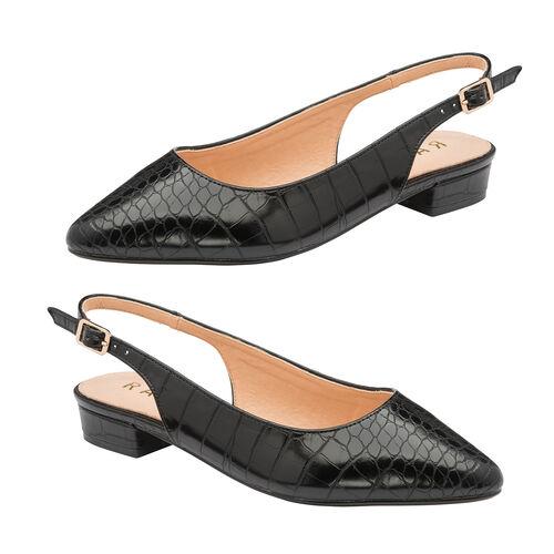Ravel Black Highlands Slingback Ballet Flats (Size 5)