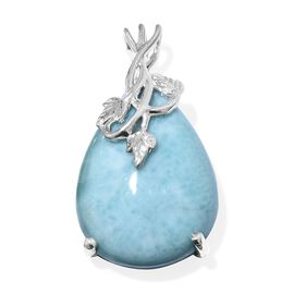 Limited Edition- Rare Size Larimar (Pear 20X15 mm) Drop Pendant in Platinum Overlay Sterling Silver 15.000 Ct.