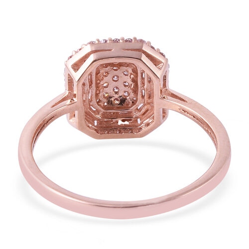 9K Rose Gold Natural Pink Diamond (Rnd and Bgt) Ring 0.500 Ct.