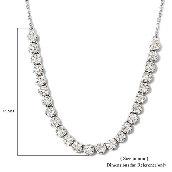 GP - Set of 2 - Diamond (Rnd), Blue Sapphire Floral Necklace (Size 18) and Stud Earrings in Platinum Overlay Sterling Silver
