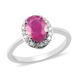RHAPSODY 950 Platinum AAAA Natural Mozambique Ruby and Diamond Halo Ring 1.75 Ct.