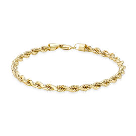 9K Yellow Gold Diamond Cut Rope Bracelet (Size 7.5), Gold Wt. 4.20 Gms