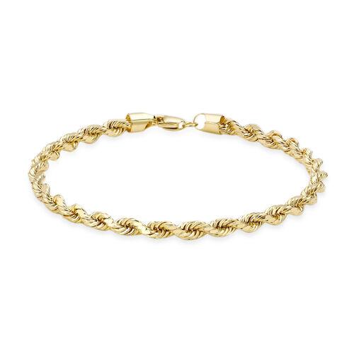 9K Yellow Gold Diamond Cut Rope Bracelet (Size 7.5), Gold Wt. 4.20 Gms