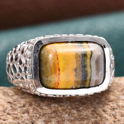 Bumble Bee Jasper (Cush) Solitaire Ring in Platinum Overlay Sterling Silver 5.750 Ct. Silver wt 8.60 Gms.