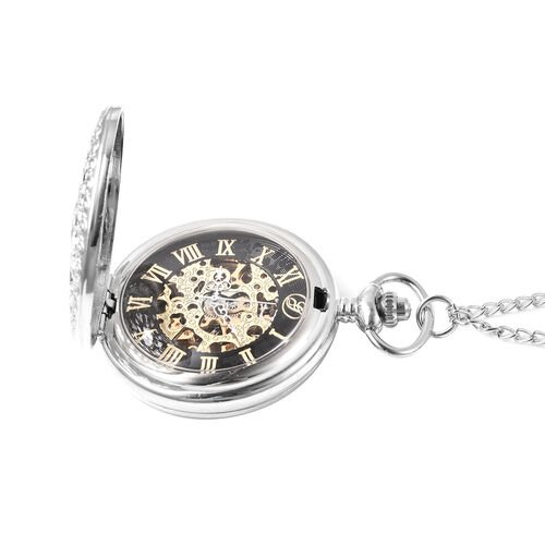 GENOA Automatic Mechanical Hollow-Out Pattern Pocket Watch with Chain in Silver Tone
