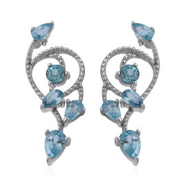 Blue Zircon Designer Earrings with Push Back in Rhodium Plated Sterling Silver