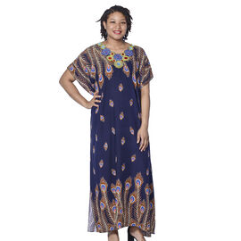 Jovie Navy Peacock Style Printed Long Dress with Embroidered Neckline (138x78cm)