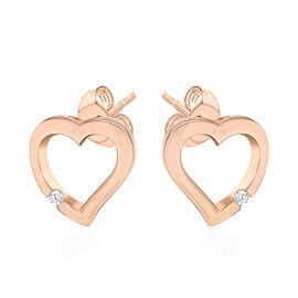 ELANZA Simulated Diamond Open Heart Earrings (with Push Back) in Rose Gold Overlay Sterling Silver