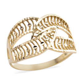 Royal Bali Diamond Cut Criss Cross Ring in 9K Yellow Gold
