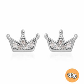 Children Crown Earrings with Natural Cambodian Zircon in Sterling Silver