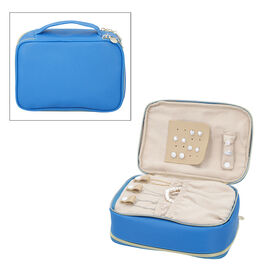 Portable Jewellery and Cosmetic Organiser with Zipper Closure (Size 24x17x9 Cm) - Royal Blue