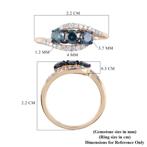 9K Yellow Gold Blue and White Diamond Bypass Ring 0.75 Ct.