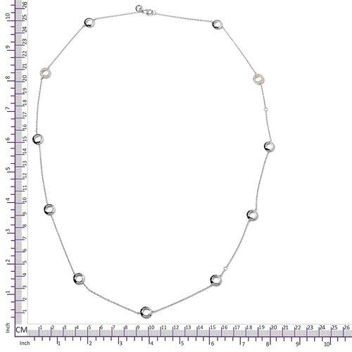 WEBEX- Rachel Galley Swarovski Zirconia (Rnd) Rhodium Plated Sterling Silver Necklace (Size 30)  0.192 Ct, Silver wt 13.45 Gms.