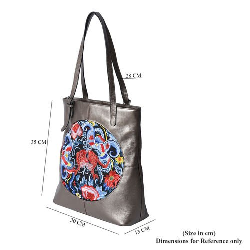 100% Genuine Leather Multi Colour Embroidery Pattern Shoulder Bag with External Zipper Pocket (Size 30x13x35) - Bronze