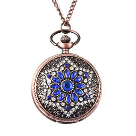 STRADA Japanese Movement Simulated Blue Sapphire, White Austrian Crystal Flower Pattern Pocket Watch