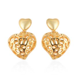 RACHEL GALLEY Amore Heart Earrings with Push Back in Gold Plated Silver 6.62 Grams