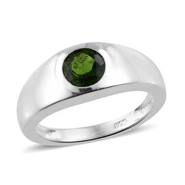 One Time Deal - Russian Diopside (Rnd 6.0mm) Solitaire Ring in Sterling Silver 1.000 Ct.