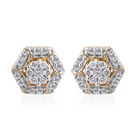 9K Yellow Gold SGL Certified Diamond (Rnd) (I3/G-H) Earrings (with Push Back) 0.250 Ct.