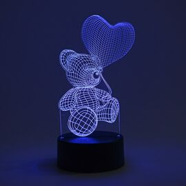 3D Optical Illusion Colour Changing Lamp with USB Cable - Globe (Size 17.6x14.1 Cm) - Teddy Bear