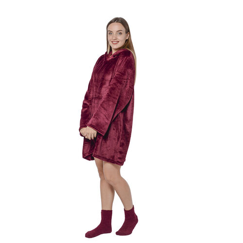 2 Piece Set - Hooded Robe with Pockets and Socks - Maroon