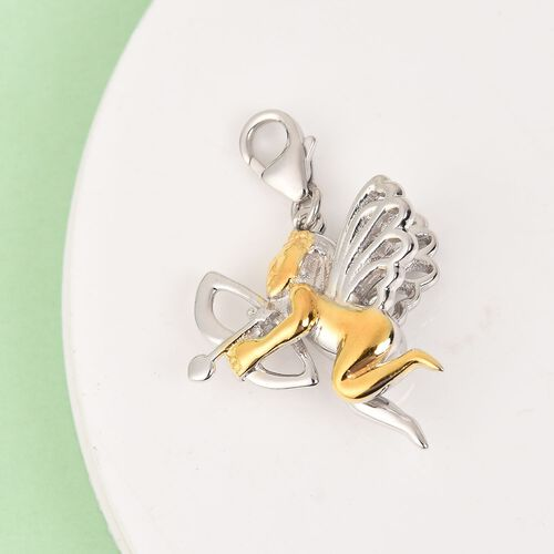 Love Cupid Charm in Platinum and Gold Overlay Sterling Silver