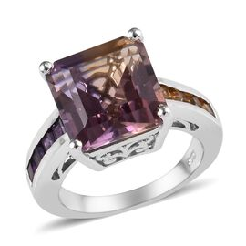 Anahi Ametrine (Oct 11x11 mm), Amethyst and Citrine Ring in Platinum Overlay Sterling Silver 7.00 Ct