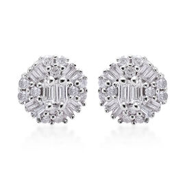 9K White Gold SGL Certified Diamond (Rnd and Bgt) (I3/G-H) Earrings (with Push Back) 0.250 Ct.