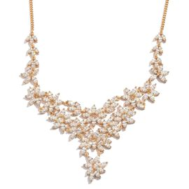J Francis - Yellow Gold Overlay Sterling Silver (Mrq) Necklace (Size 18) Made with SWAROVSKI ZIRCONIA