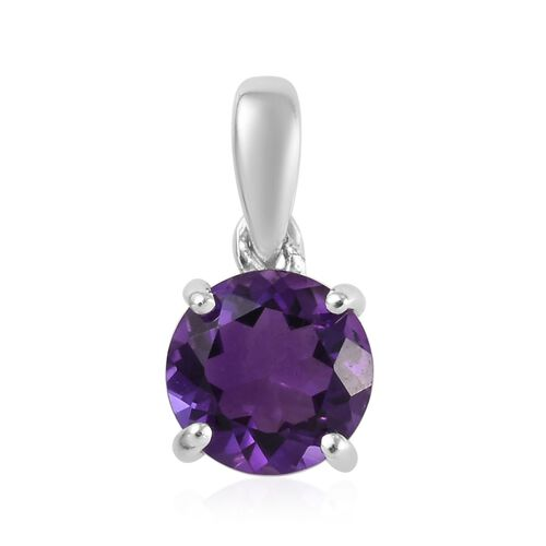 9K White Gold Amethyst (Rnd) Solitaire Pendant 0.80 Ct.