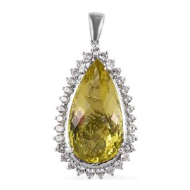 Natural Ouro Verde Quartz (Pear), Natural Cambodian Zircon Pendant  in Platinum Overlay Sterling Sil