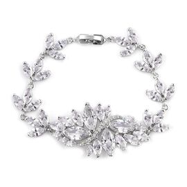 Simulated Diamond Floral Bracelet in Silver Tone Size 6.5 Inch