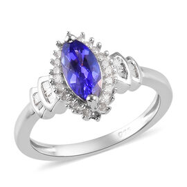 Collectors Edition- Premium Tanzanite and Diamond Ring in Platinum Overlay Sterling Silver 1.00 Ct.
