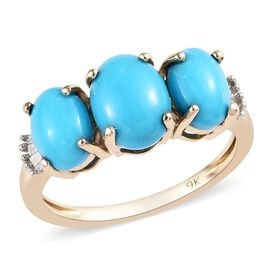 2.35 Ct AA Arizona Sleeping Beauty Turquoise and Diamond Trilogy Ring in 9K Gold