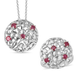 LucyQ Filigree Collection - African Ruby (FF) Interchangeable Poison Ring/Locket with Chain (Size 22