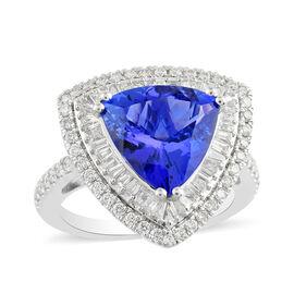 RHAPSODY 950 Platinum AAAA Tanzanite (Trl 11 3.65 Cts) and Diamond (E-F/ VS 1.00 Cts) Ring 4.65 Ct,