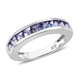 Tanzanite (Princess Cut) Band Ring in Platinum Overlay Sterling Silver 1.250 Ct.