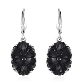 California Black Jade Floral Lever Back Earrings in Platinum Overlay Sterling Silver 11.25 Ct.